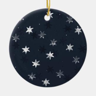 Stamped Star Round Ceramic Decoration