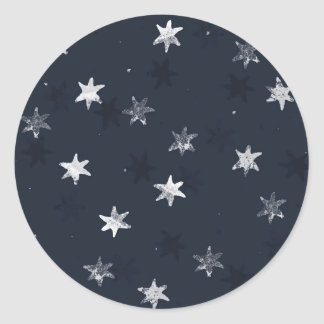 Stamped Star Round Sticker