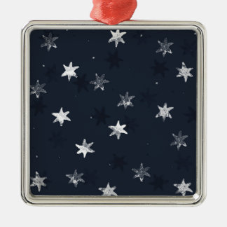 Stamped Star Silver-Colored Square Decoration