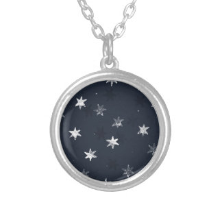 Stamped Star Silver Plated Necklace