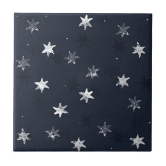 Stamped Star Small Square Tile