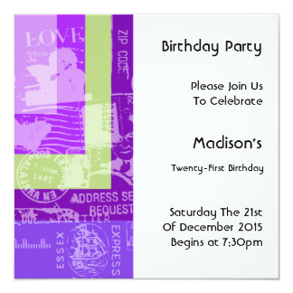 Stamps Colour Block Birthday Party Invitation