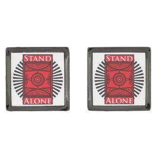 Stand Alone Gunmetal Finish Cuff Links