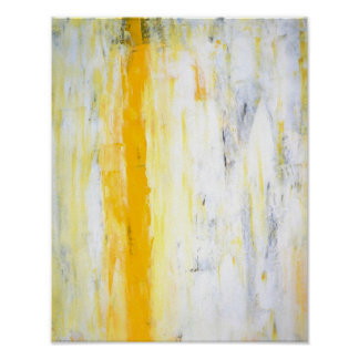 'Stand Aside' Grey and Yellow Abstract Art Poster