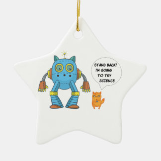 Stand Back Going To Try Science Funny Cat Ceramic Ornament