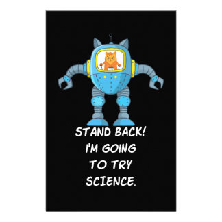 Stand Back Going To Try Science Funny Robot Cat Stationery