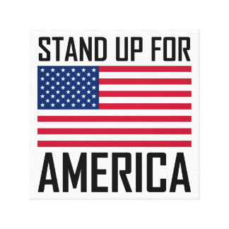Stand Up For America Flag National Anthem Canvas Print