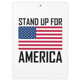 Stand Up For America Flag National Anthem Clipboard