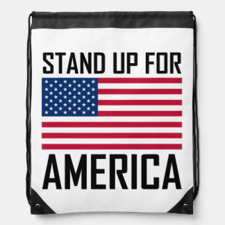 Stand Up For America Flag National Anthem Drawstring Bag