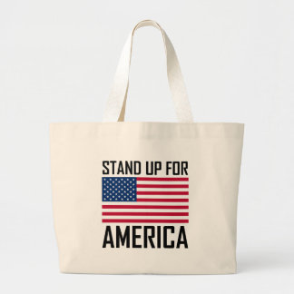 Stand Up For America Flag National Anthem Large Tote Bag
