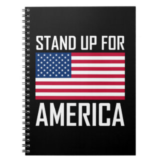 Stand Up For America Flag National Anthem Notebooks