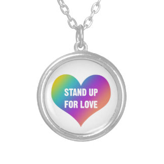 Stand Up for Love (Rainbow Heart) Silver Plated Necklace