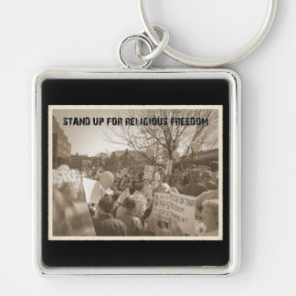 Stand Up For Religious Freedom Silver-Colored Square Key Ring