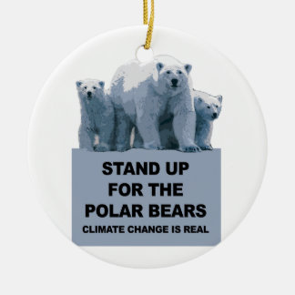 Stand Up for the Polar Bears Round Ceramic Decoration