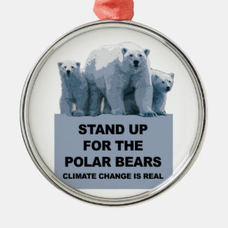 Stand Up for the Polar Bears Silver-Colored Round Decoration