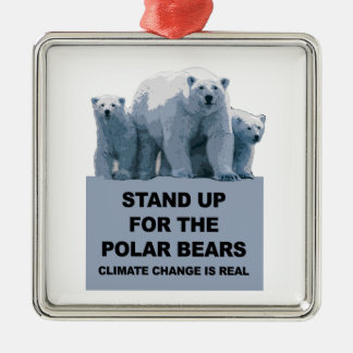 Stand Up for the Polar Bears Silver-Colored Square Decoration