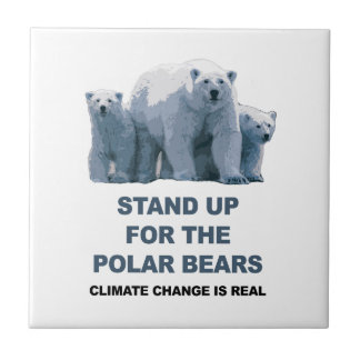 Stand Up for the Polar Bears Small Square Tile