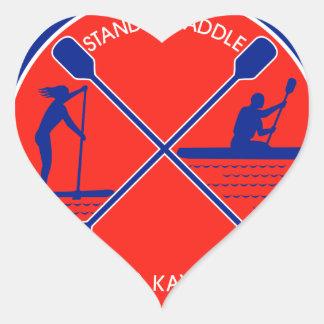 Stand-up Paddle and Kayak Circle Retro Heart Sticker