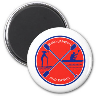 Stand-up Paddle and Kayak Circle Retro Magnet