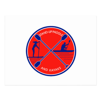 Stand-up Paddle and Kayak Circle Retro Postcard