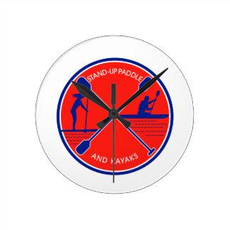 Stand-up Paddle and Kayak Circle Retro Round Clock