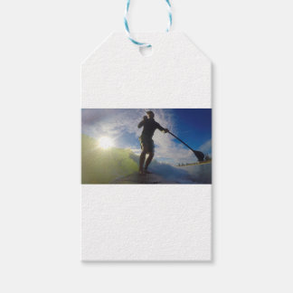 Stand up paddle board surfing a wave gift tags