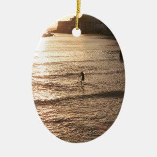 Stand up paddle boarding sunset San Sebastian Ceramic Ornament