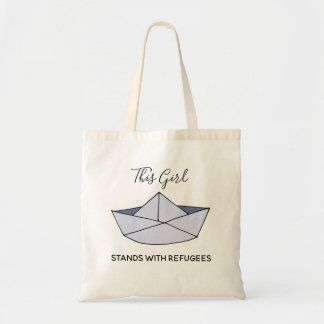 Stand With Refugees Doodle Paper Boat with Name Tote Bag