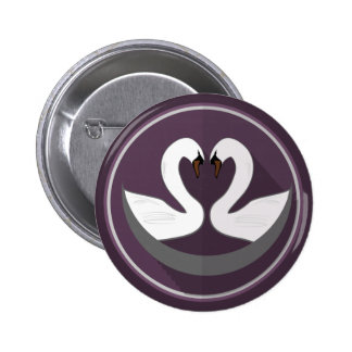 Standard, 2¼ Inch Round Button LOVE SWANS