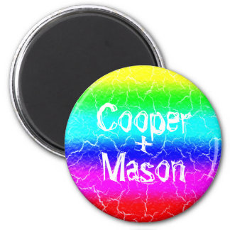 Standard  5.7 Cm Rainbow Round Magnet for a Couple