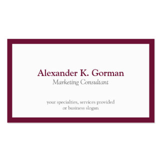 Standard classic burgundy border solid profession pack of standard business cards