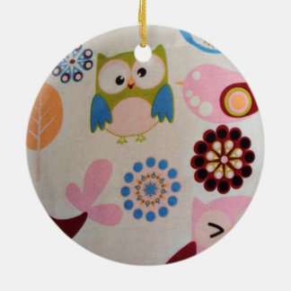 standard of owls and birds round ceramic decoration