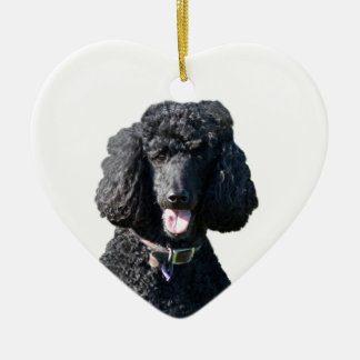 Standard Poodle dog black beautiful photo portrait Ceramic Ornament