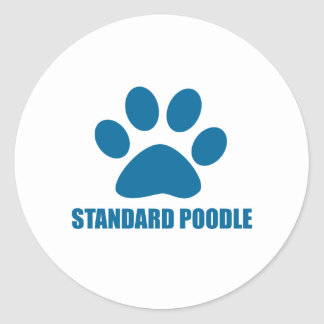 STANDARD POODLE DOG DESIGNS CLASSIC ROUND STICKER
