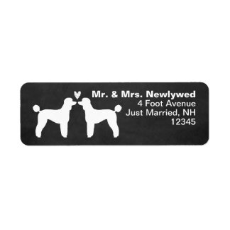 Standard Poodle Silhouettes with Heart Return Address Label