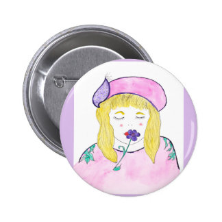 "Standard Round Button 2 1/4"" with watercolor girl"