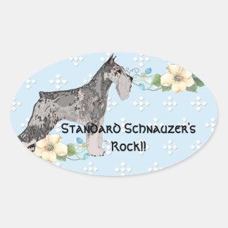 Standard Schnauzer - Blue w/White Diamond Oval Sticker