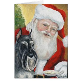 """Standard Schnauzer & Santa"" Dog Art Greeting Card"