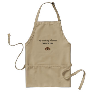 Standard tan apron with a boomerang on the front
