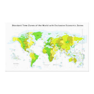 Standard time zones of the world & Economic Zones Gallery Wrap Canvas