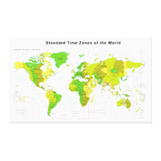 Standard Time Zones World Map 2013 Stretched Canvas Prints