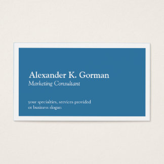 Standard white border solid colbalt blue classic business card