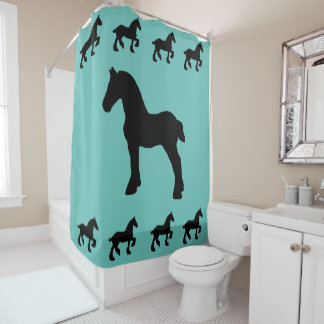 Standing and Prancing Draft Horse Silhouette Shower Curtain