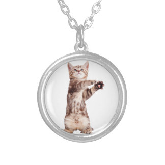 Standing cat - kitty - pet - feline - pet cat silver plated necklace