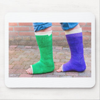 Standing child with two colorful gypsum legs mouse pad