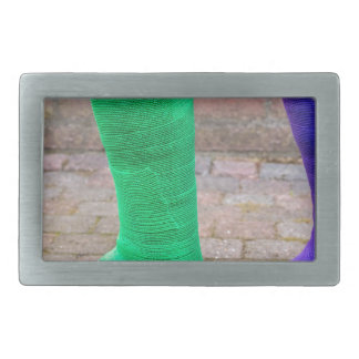 Standing child with two colorful gypsum legs rectangular belt buckle