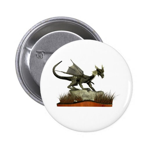 Standing Dragon on a Rock Pinback Button