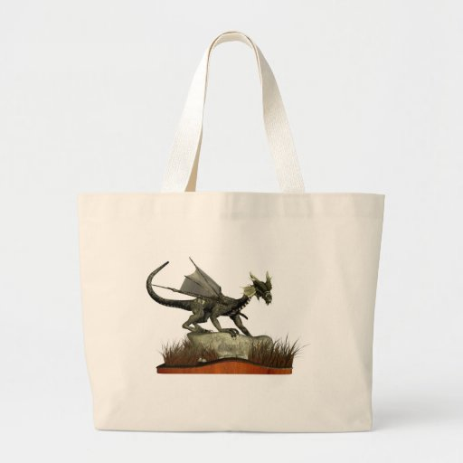 Standing Dragon on a Rock Tote Bags