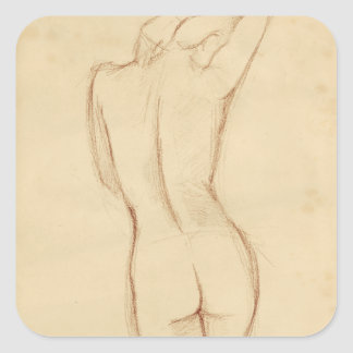 Standing Nude Female Drawing Square Sticker