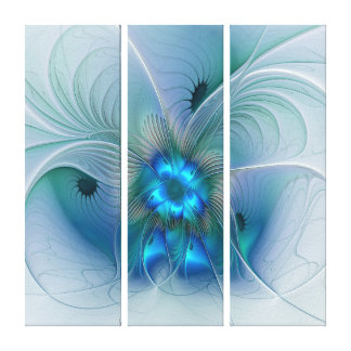 Standing Ovations Abstract Blue Turquoise Triptych Canvas Print